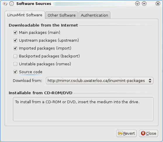 Linux Mint 8 - Управление репозиториями