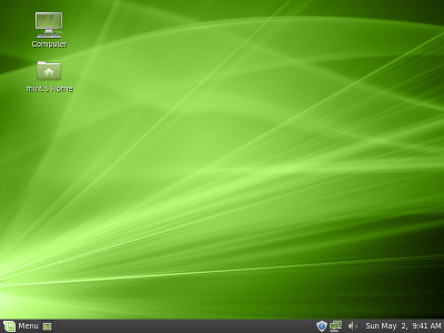 The default Linux Mint 9 desktop