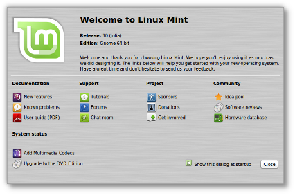 Linux Mint 10 - Welcome screen
