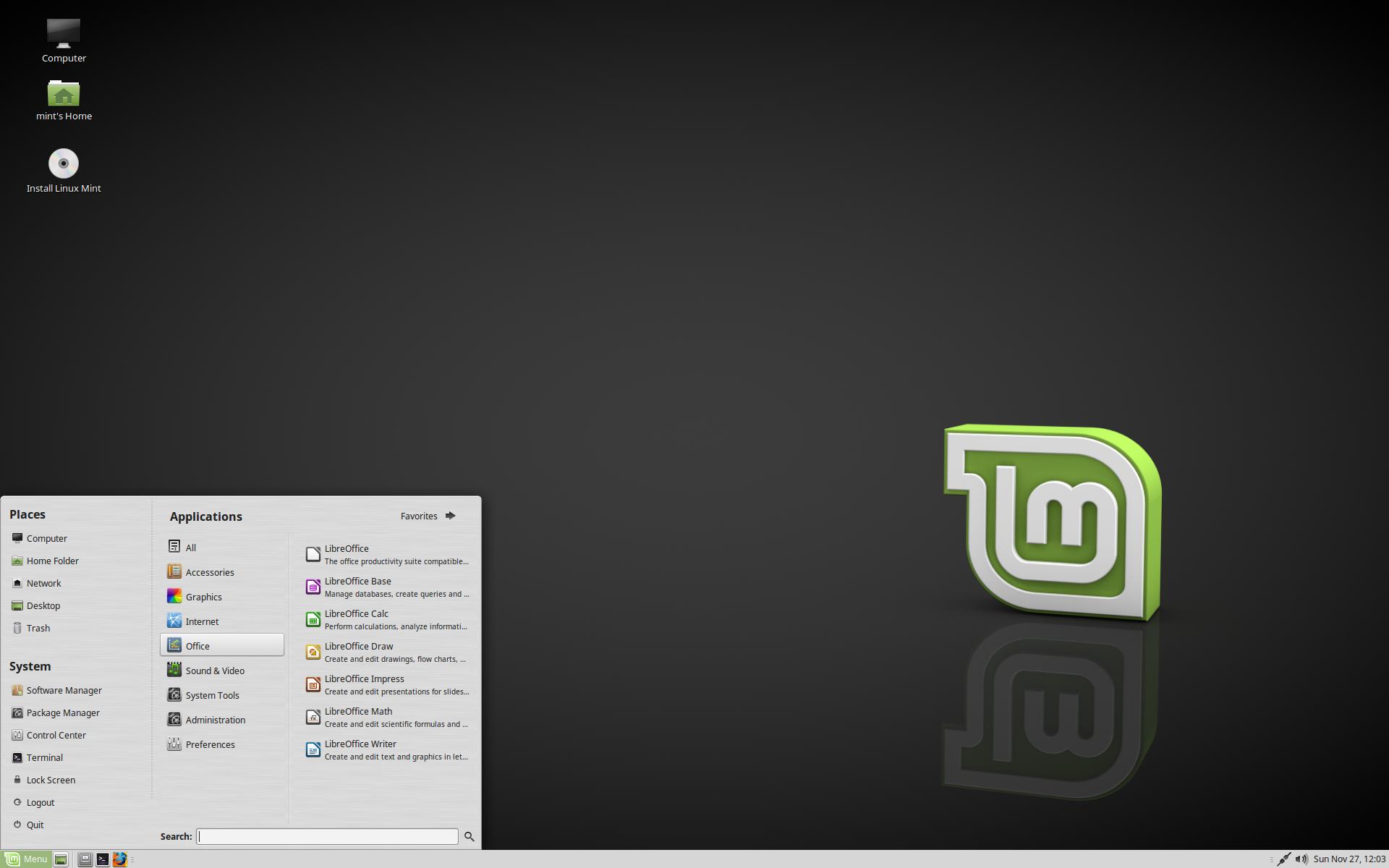 Linux Mint 18.1 Serena MATE エディション
