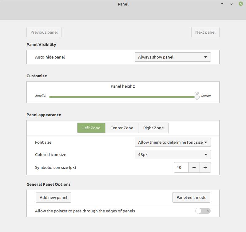 Linux Mint 19.3 panel settings